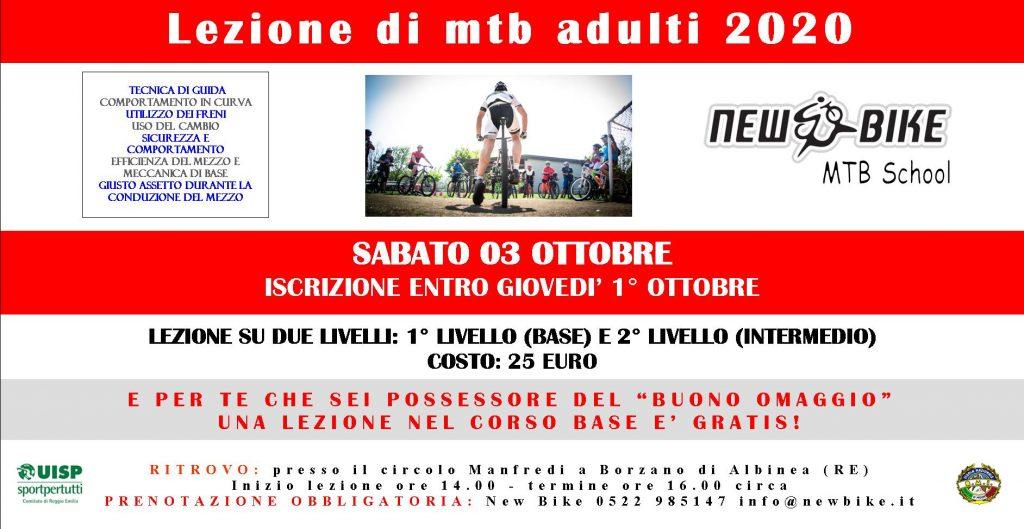 Lezioni mtb e omaggio 03 ottobre 2020 organizzate da New Bike