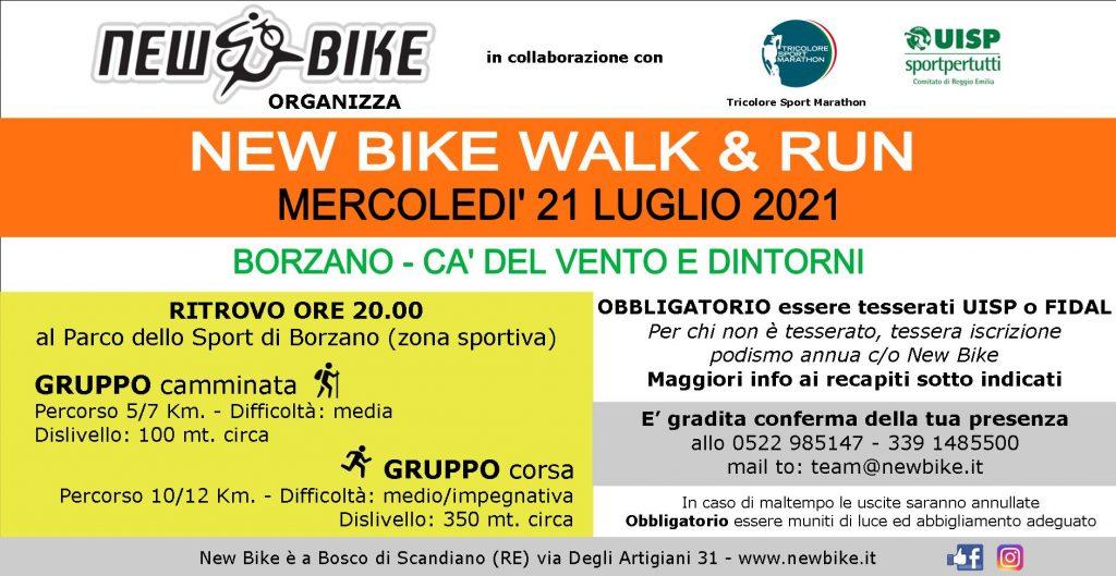 "New Bike organizza ""walk & run"" insieme a New Bike mercoledì 21 luglio 2021"